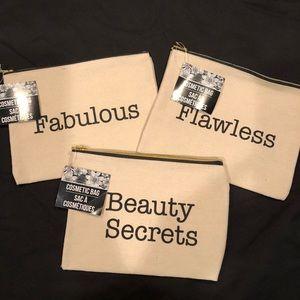 Handbags - Set Of Three Slogan Cosmetic Bags NWT